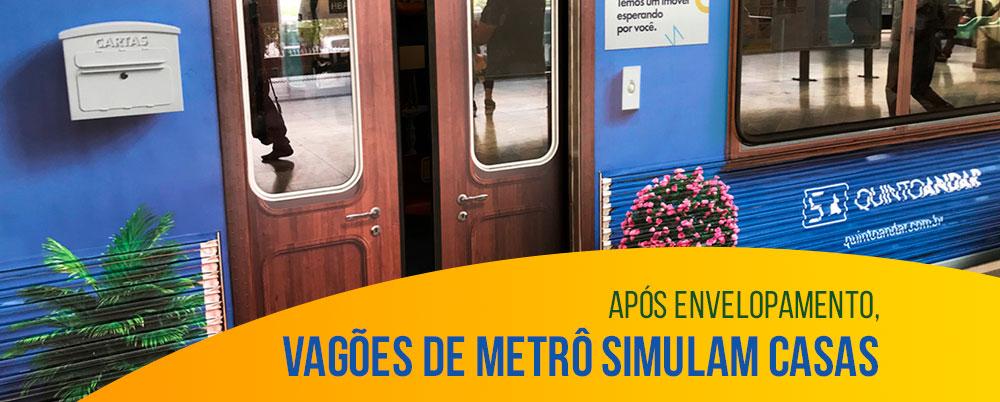Após envelopamento, vagões de metrô simulam casas