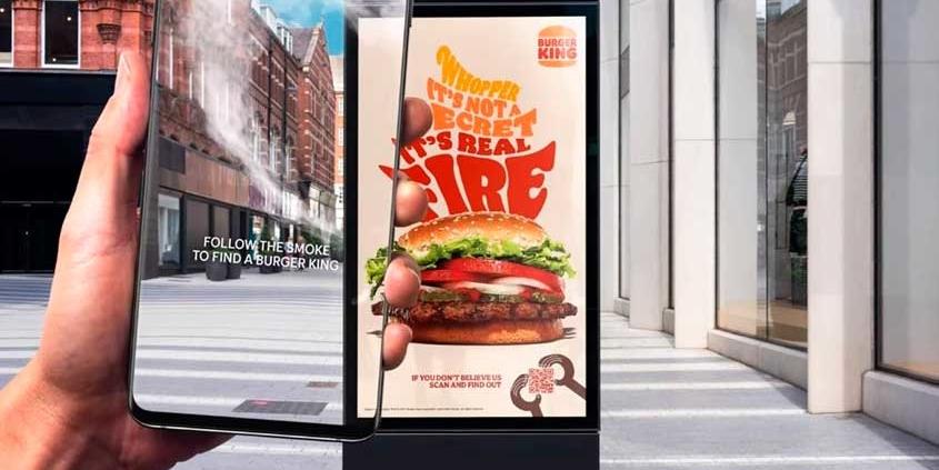 OOH e fumaça indicam caminho até o Burger King